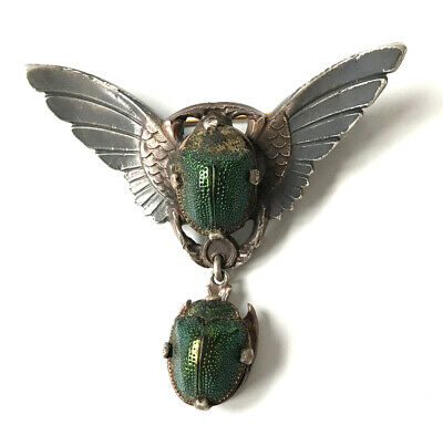 Rare! Antique Egyptian Revival Scarab Beetle Brooch