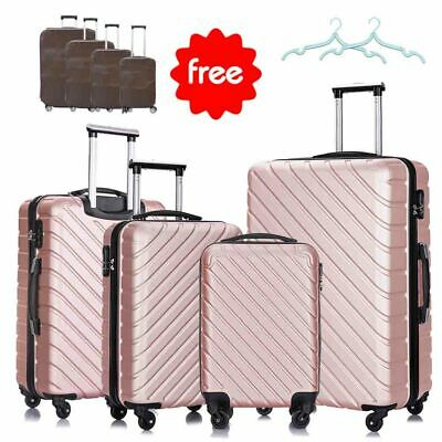 4Pcs ABS Trolley Carry On Travel Luggage Set Bag Spinner Suitcase w/Lock Pink