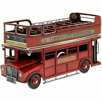 Large Red Tin Model Of A Open Top London Route Master Bus Collectable