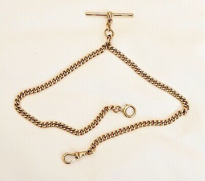 Superb 28gm 9ct Rose Gold Antique Double Albert Fob Chain HM Birmingham 1912.
