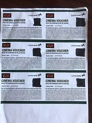 6 X Vue Cinema tickets from Lloyds bank expiry 27/10/2020