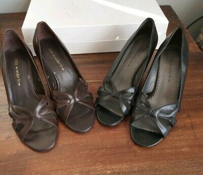 2 X Pairs Of M&S Shoes One Black, One Brown Leather Size 3.5 Wider Fit Open Toe