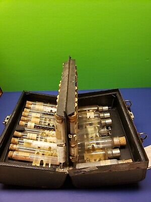 Antique Doctors Medical Apothecary Travel Case multiple original vials MUST SEE