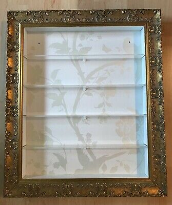 5 Tier Nail Polish  Wall Mounted Display in Gold FRAME - Gold/White  (POS)