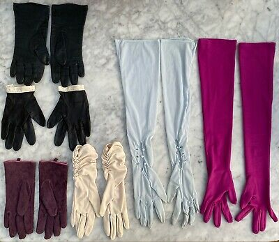 x6 Pairs Of Gloves - Vintage Elbow Length & Modern Short - Leather / Suede