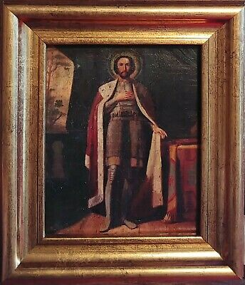 Antique Hand Painted Russian 19C Icon  Of Alexander Nevsky With Kiot