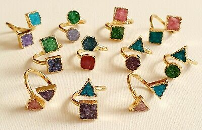 24k Gold Plated Druzy Agate Crystal Ring Adjustable Other Bloggers Stories Mango