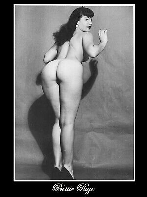 Bettie Page Standing Nude Back Showing B/W  18X24 Poster Free Shipping #1006