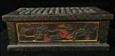 """16"""" Old Chinese Wood Lacquerware Carving Beast Coin Counting Frame Abacus Statue"""