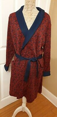 Vintage 60s St Michael Smoking Jacket Dressing Gown 40 42 Red Blue paisley print