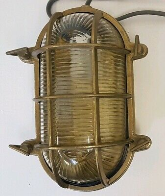 Solid Brass Oval Bulkhead Outdoor Wall Light Nautical Ship Bathroom Pub with LED