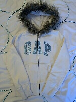 Gorgeous Girl's Gap Kids White Hoodie Jacket Age 6-7 Years, Furry Hood, Winter