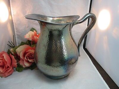 Hammered silverplate Poole water pitcher 1276