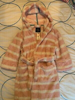 Girl's Mini Boden Pink And White Stripy Fluffy Dressing Gown Aged 6-7