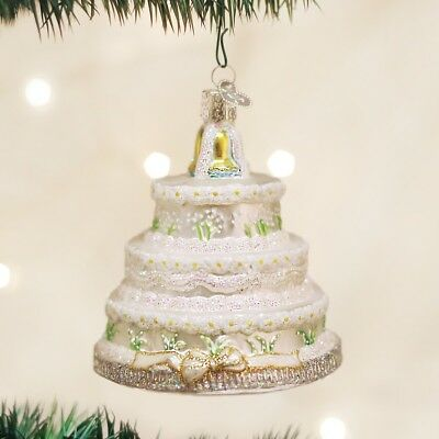 OWC Old World Christmas Glass Ornament WEDDING CAKE Handblown Bridal Gift