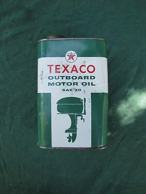 Vintage Texaco Quart Outboard Motor Oil Can SAE 30 Still Full From Factory