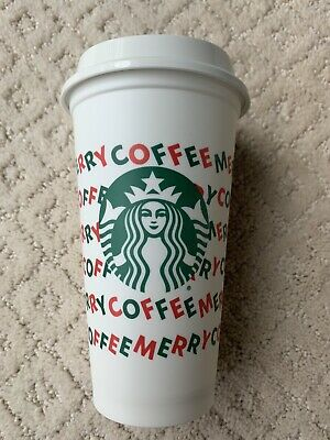 NEW STARBUCKS 2019 HOLIDAY REUSEABLE CUP MERRY COFFEE CHRISTMAS RED/WHITE 16oz