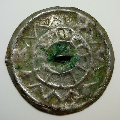Bronze Mirror 62mm. Solar sign 500-900AD. Pendant  / Coin / Viking / Khazar