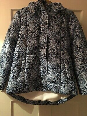 Floral Blue And White Warm Padded Coat, Mantaray Debenhams 11-12Y With Hood