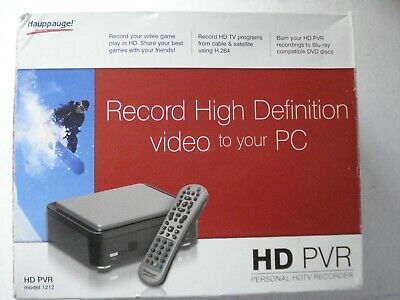HAUPPAUGE HD PVR (MODEL 1212) PERSONAL HDTV RECORDER Used A Few Times