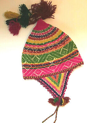 Vintage Artisan Childrens Colorful Wool Hat South American