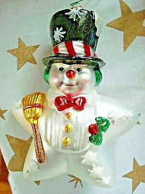 Vintage RETIRED Old World Christmas OWC Star Snowman Hand Blown Ornament