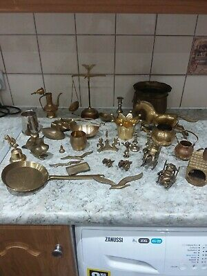 Large Bundle / Job Lot of Vintage and Antique Brass, Metal & Silver Plated