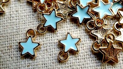 Star charms 10 gold & pale blue tiny pendant charm jewellery supplies C446