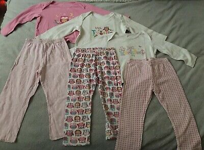 Girls Age 2-3 Years Pyjama Bundle, Three Sets Of Pjs Ff And Bhs. Owl Patterned