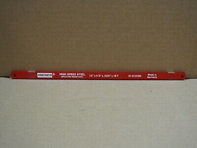 "QTY 10 Simonds 12"" x 1/2"" 18T High Speed Steel Hacksaw Blades 31-512180 Germany"