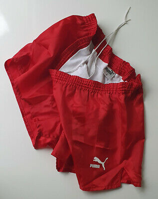 Puma Authentic Vintage 80s Shiny Nylon Red Running/Soccer Shorts - Mens Size L !