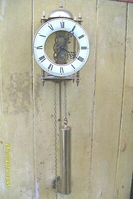 Wall Skeleton  Clock Hermle Striking  On The  Passing Hours Pendulum  & Weight