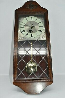 Old Style Wooden Wall Clock Glass Front 23 inch Long