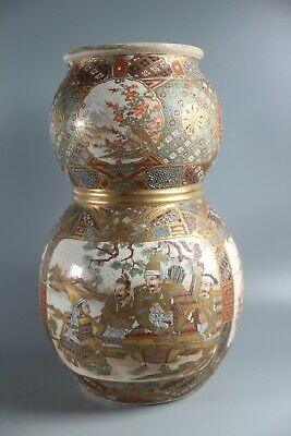Double Gourd Asian Japanese Satsuma Vases Meiji Period LARGE 12""