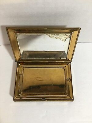 Vintage 1940s Womens COTY Makeup Compact Case Mirrored Gold tone