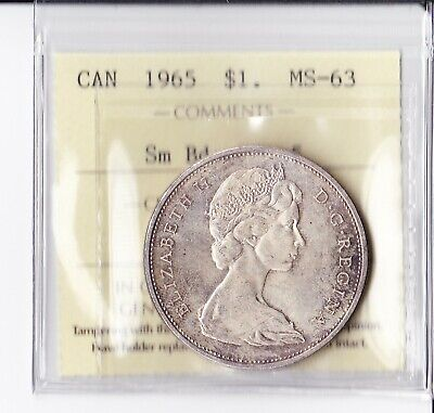 Canadian Canada silver dollar $ 1 Coin 1965 MS 63  SB PTD5 ICCS Certified