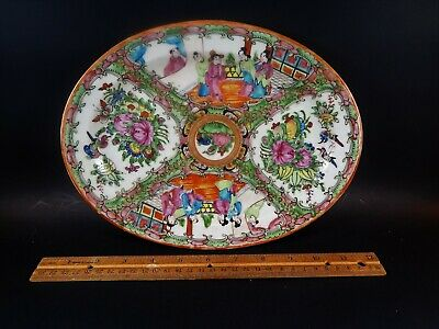 Medium Size Antique 19th C Chinese Export Famille Rose Medallion Canton Platter