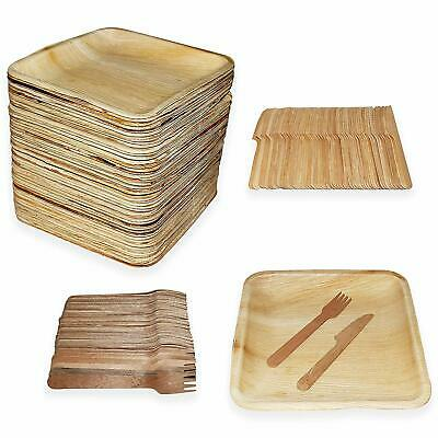 """Disposable Bamboo Palm Leaf Plates 10"""", [75-600 PACK Total] with Bamboo Cutlery"""