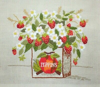 Strawberries Flowers in Crate by Paragon Crewel Embroidery Completed Finished