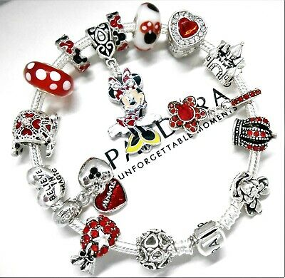 Authentic Pandora Bracelet Silver Disney Minnie Mouse with European Charms Red