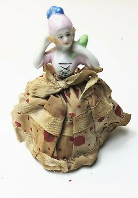 Vintage Half Doll Pin Cushion Porcelain Doll Dress Made Japan