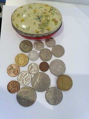 N.Z. Fiji Papua New guinea 1970s current lot of coins in Alice in wonderland tin