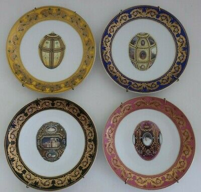 4 Dianti Italy porcelain DISPLAY PLATES Faberge Egg design incls. wall hangers