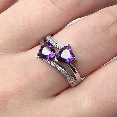 Fashion Heart Silver Wedding Rings for Women Amethyst Jewelry Ring Size 9