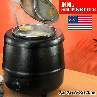 10L Soup Warmer Commercial Kettle Stainless Steel Electric Jug Stew Cooking
