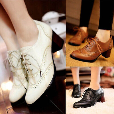 Women Mid Block Heel Oxford Shoes Ladies Lace Up Brogue Shoes Vintage Casual