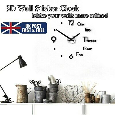 Large Wall Clock Modern Design 3D Wall Sticker Clock Silent Home Decor Quartz,UK