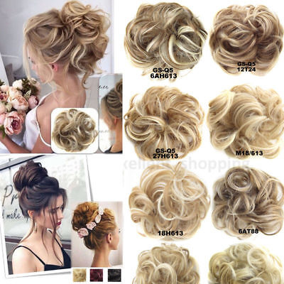 New UK Natural Real Thick Messy Bun Scrunchie Updo Hair Extension Blonde Brown