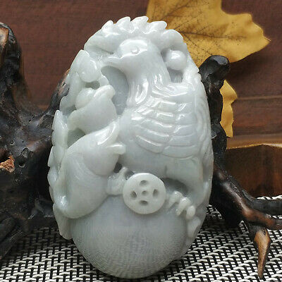 AAAAA Chinese Hand-carved aristocratic wearing Jadeite jade pendant(Chickens)