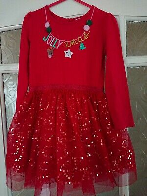 Girls Red Long Sleeved Netted Sequined Christmas Party Tutu Dress, age 3-4 years
